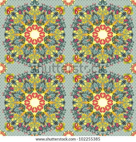 Abstract flowers seamless pattern. pink yellow gray
