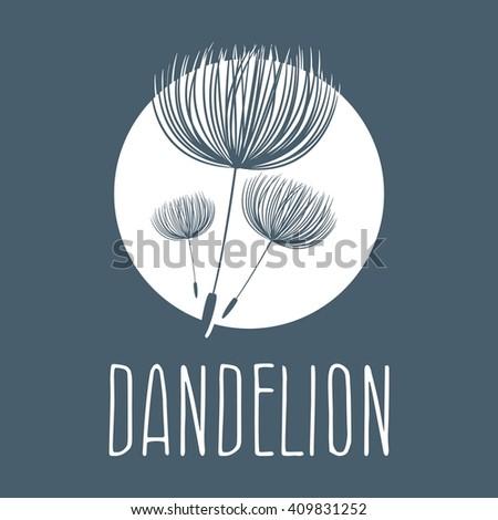 Abstract fluffy dandelion flower logo. Vector illustration  - stock vector