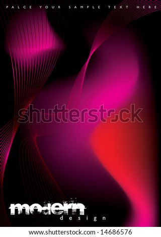 Abstract fluid background with a flowing design in red and black - stock vector