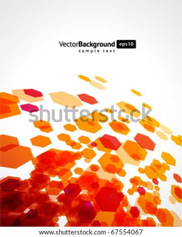 Abstract fly hexagon shapes vector background - stock vector