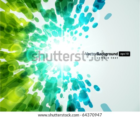 Abstract fly lines with bokeh vector background - stock vector