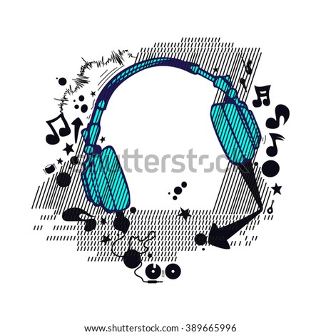 Abstract flyer club party music headphone white background vector isolated  - stock vector