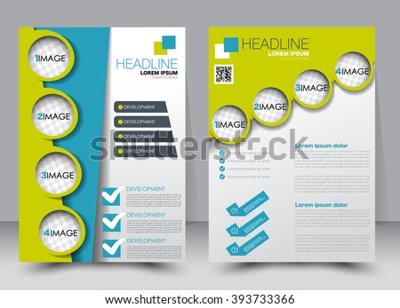 Abstract flyer design background. Brochure template. Can be used for magazine cover, business mockup, education, presentation, report. a4 size with editable elements. Green and blue color. - stock vector