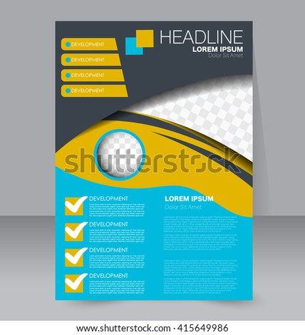 Abstract flyer design background. Brochure template. To be used for magazine cover, business mockup, education, presentation, report.  Blue, yellow and grey color - stock vector