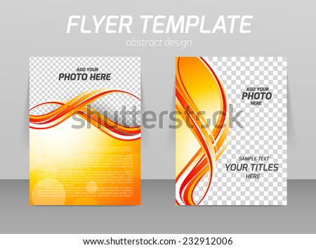 Abstract flyer template design with orange wavy lines - stock vector