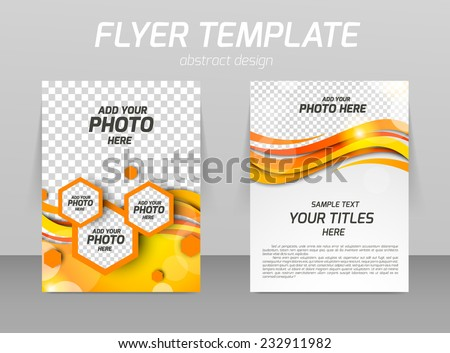 Abstract flyer template design with waves and hexagons - stock vector