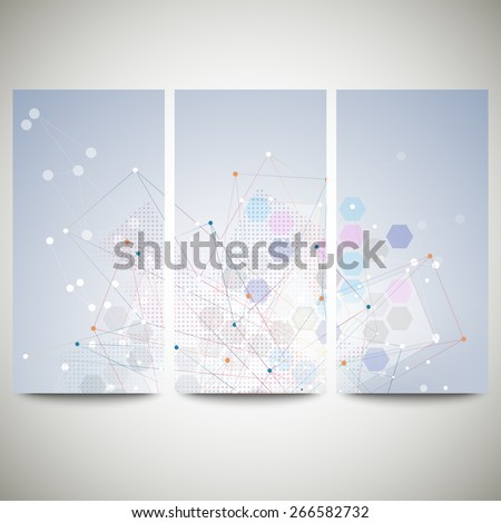 Abstract flyers set, molecular vector design. Molecule structure, blue background for communication, science vector illustration. - stock vector