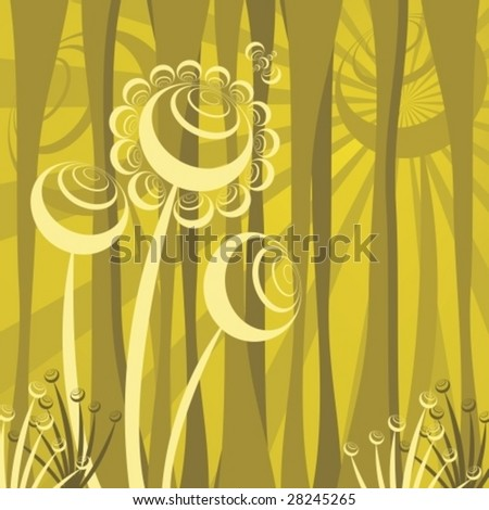 abstract forest scene, retro vector illustration