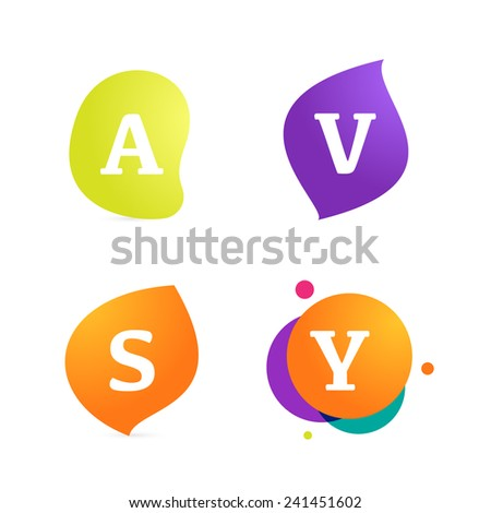 Abstract form and letter logo set - stock vector