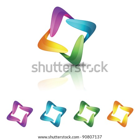 Abstract four color icons - stock vector