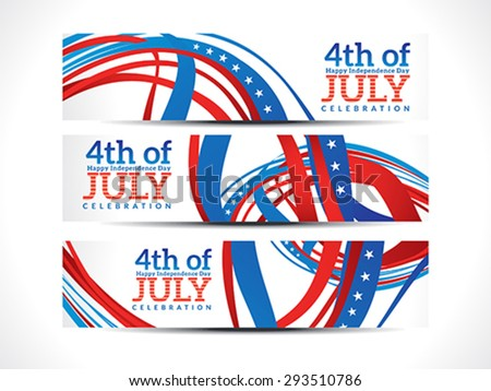 abstract fourth july celebration banners vector illustration - stock vector