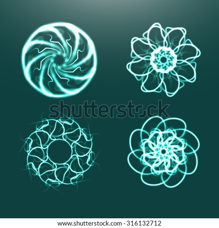 Abstract fractals with adaptation to background. Abstract background.Green abstract background. Abstract background for your desktop. Vector Abstract background. Abstract background with four fractals - stock vector