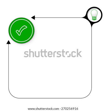 Abstract frame for your text with bulb and check box - stock vector