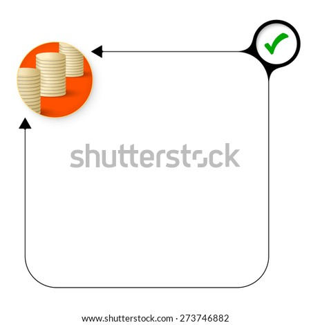Abstract frame for your text with check box and coin - stock vector