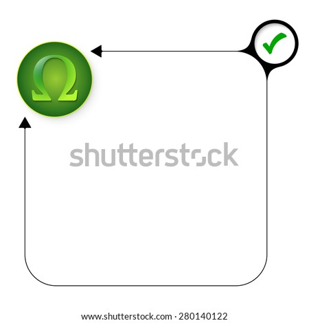 Abstract frame for your text with check box and omega symbol - stock vector
