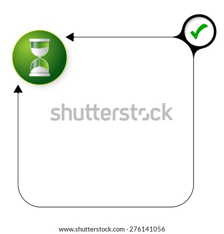 Abstract frame for your text with check box and sand glass - stock vector