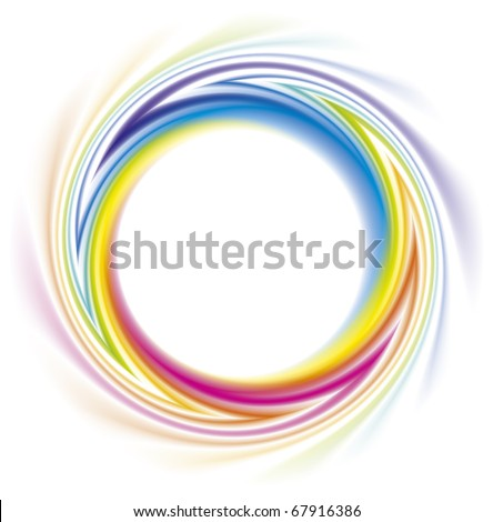 Abstract frame of the spiral curled rainbow spectrum - stock vector