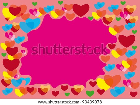 abstract frame with colors hearts. Love background