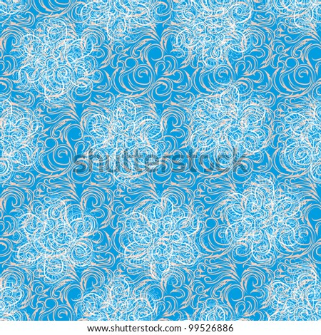 abstract frame with gentle flowers and different curls on a blue background - stock vector