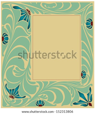 Abstract framework from the bound lines and flowers based on style art-nouveau - stock vector