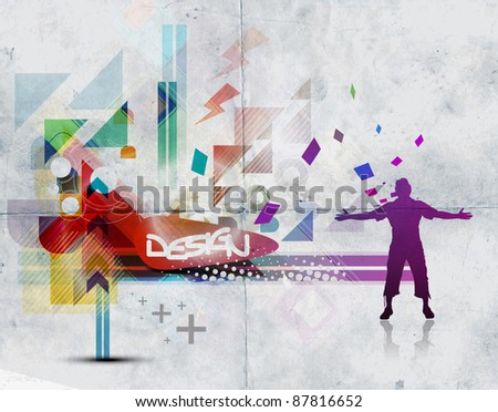 Abstract freedom man with abstract beautiful background design. - stock vector