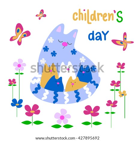 Abstract Funky Concept Cackground for Happy Children's Day . Beautiful design greeting card for happy children's day.Cute cat with kittens  .  - stock vector