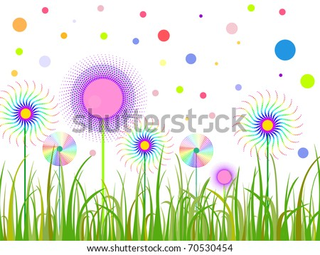 abstract funny flowers - vector - stock vector