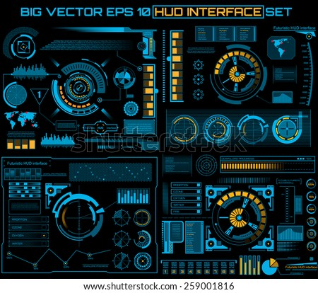 Abstract future, concept vector futuristic blue virtual graphic touch user interface HUD.  - stock vector