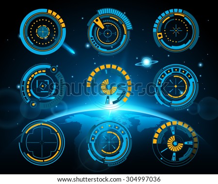 Abstract future, concept vector futuristic blue virtual graphic touch user interface HUD. For web, site, mobile applications isolated on black background, techno, online design, business, gui, ui