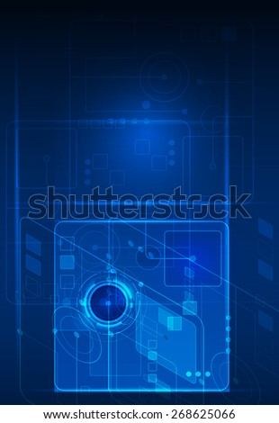 Abstract future digital science technology concept. Illustration vector futuristic of communication , electronic blue background - stock vector