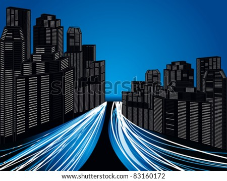 abstract futuristic city with traffic vector illustration - stock vector