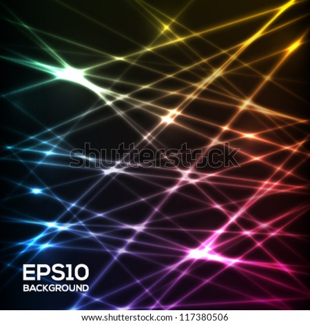 Abstract futuristic glowing rays background. Vector illustration. - stock vector