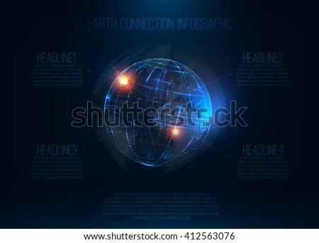 Abstract futuristic realistic earth Sci Fi globe at motion Global network connection infographic Digital world map 3d planet International communication Technology background . Vector illustration - stock vector