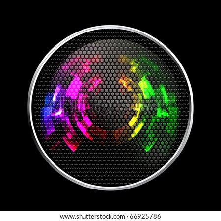 Abstract Futuristic Speaker with Glowing Lights - stock vector