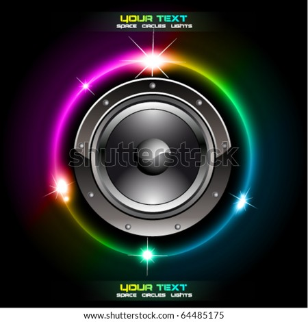 Abstract Futuristic Speaker with Glowing Lights Behind - stock vector