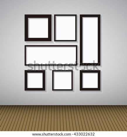 Abstract Gallery Background with Lighting Lamp and Frame. Empty Space for Your Text or Object. EPS10