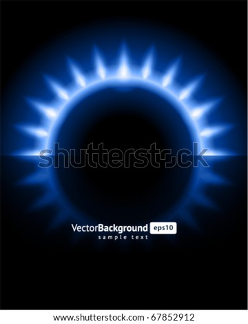 Abstract gas stove burning fire circle top view vector background - stock vector