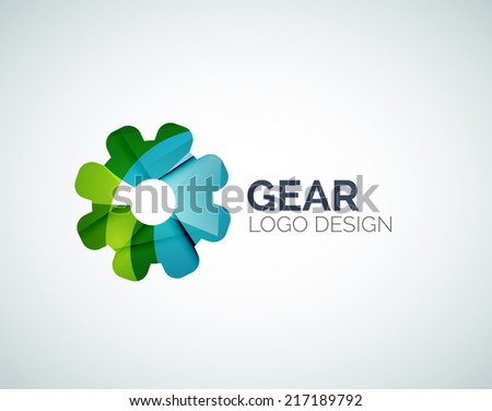 Abstract gear logo design made of color pieces - various geometric shapes - stock vector