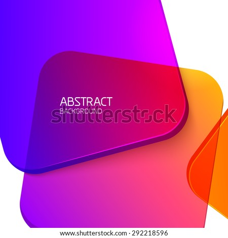 Abstract geometric background. Colorful glass shapes on white.  - stock vector