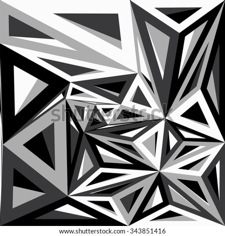 Abstract geometric background consisting of black and white triangles