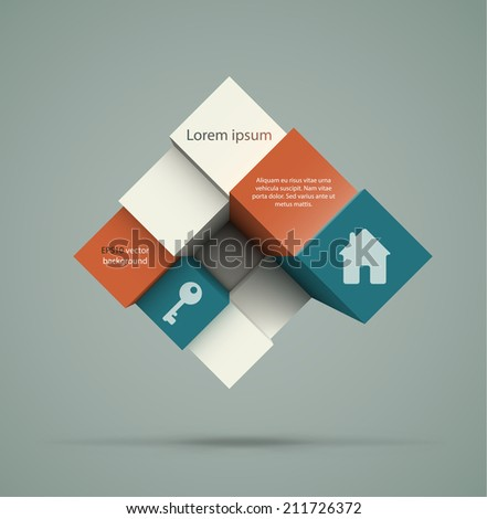 Abstract geometric background. Dynamic composition of cubes with copyspaces and content samples. EPS10 vector illustration.