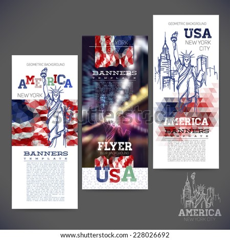Abstract geometric background flag of USA, with a sketch picture statue of Liberty. Design of banners,flyers,leaflets, brochures. - stock vector