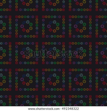 abstract geometric background, seven human chakras, vector seamless pattern, illustration.