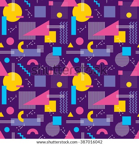 Abstract geometric background vector seamless pattern in fashion retro style of Memphis italian design group 80s for fabric, paper print and website backdrop. - stock vector