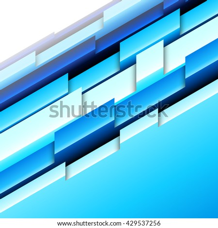 Abstract geometric background with blue and white three-dimensional shapes