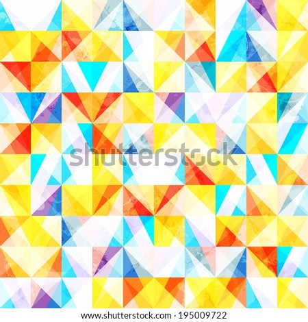 Abstract geometric background with bright triangles grunge texture - stock vector