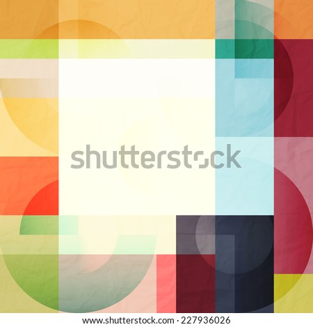 abstract geometric background with colorful rectangles over paper texture. vector design - stock vector