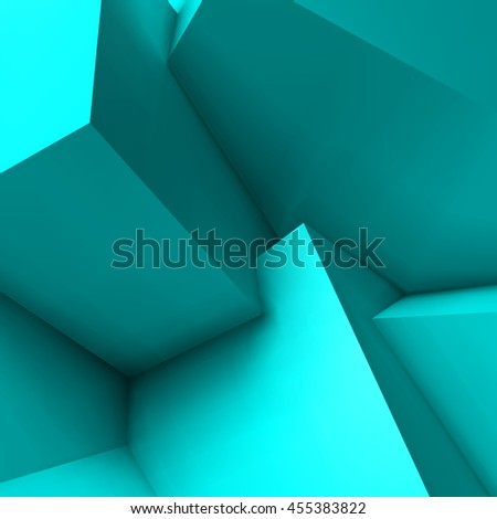 Abstract geometric background with realistic overlapping blue cubes - stock vector