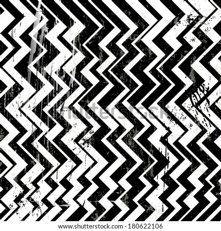 abstract geometric background, with strokes and splashes, zigzag, black and white - stock vector