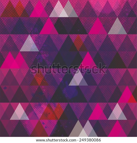 Abstract geometric background with triangles and texture. Mosaic background design - stock vector